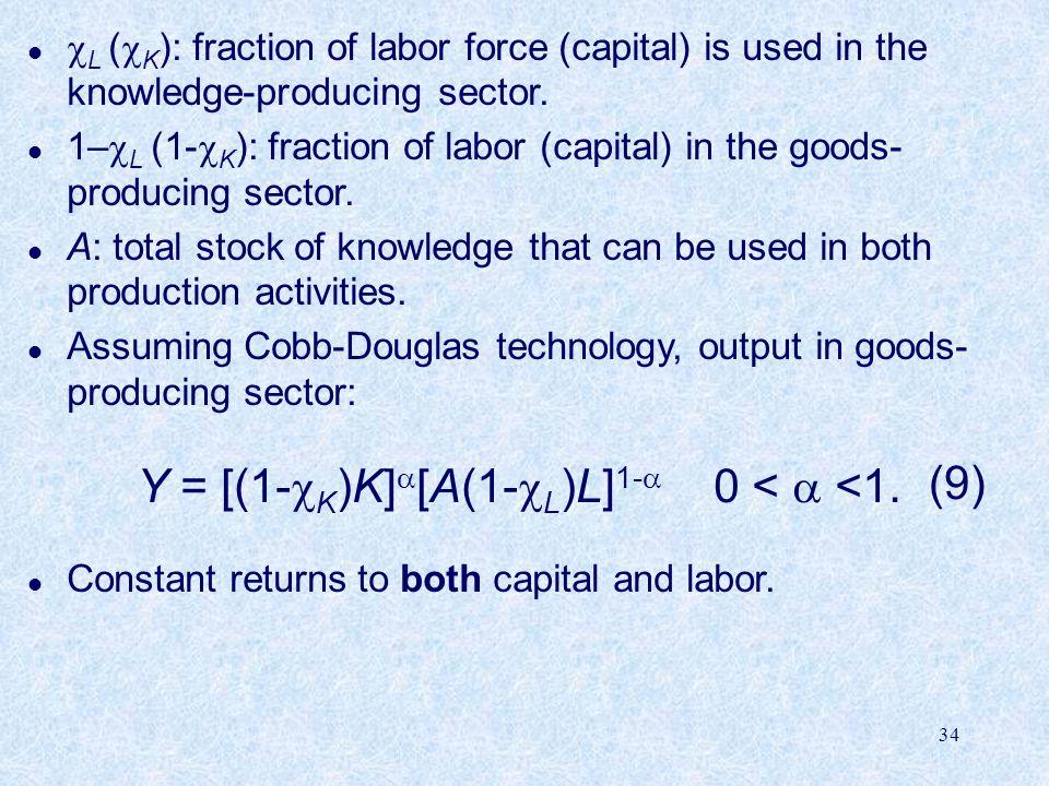 Y = [(1-cK)K][A(1-cL)L]1- 0 <  <1.